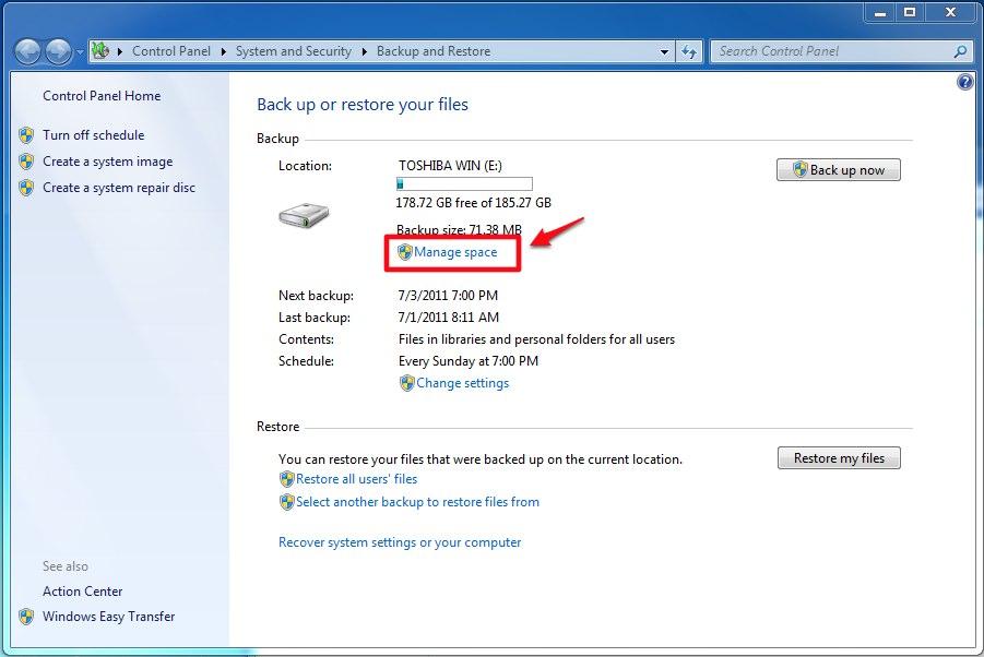 TechNote How To Delete Old Windows 7 Backups ESC Technologies
